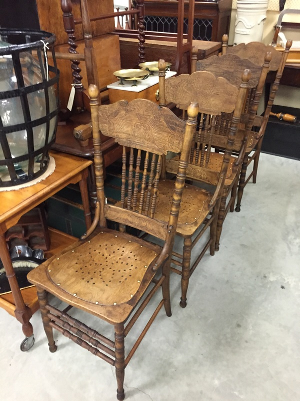 Set of four American spindle and pressed back oak chairs. - Furniture - Peach 'N Cracker Antiques
